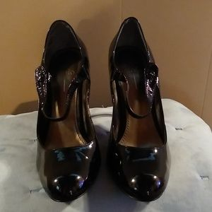 Paolo Black Patent Leather Mary Jane Heels